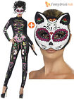 Ladies Sexy Sugar Skull Catsuit +Mask Halloween Fancy Dress Skeleton Day Of Dead