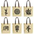 Vietsbay Ornamental Indian Elements Canvas Tote Bags with Leather Handles WAS 30