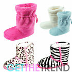 Ladies Womens Slipper Boots Animal Leopard Zebra Print Comfy Bootie Slippers