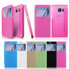 PU Leather Front Window View Wallet Leather Case For Samsung Galaxy Phone