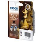 GENUINE EPSON T0511 CHESS SERIES BLACK INK CARTRIDGE TWIN PACK (C13T05114210)