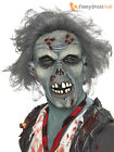 Adult Decaying Zombie Mask  + Hair Wig Latex Halloween Fancy Dress Costume Mens