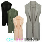 Womens Longline Sleeveless Coat Ladies Crepe Duster Waistcoat Oversized Gilet