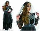 Deluxe LONG Black Corpse Zombie BRIDE Halloween Fancy Dress All Sizes to XXXL