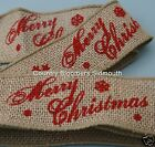 Wired Edge Natural Rustic Burlap Hessian Ribbon ~ Merry Christmas ~ 50mm
