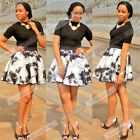 Sexy Women's Floral Print Two Piece Outfits Black Top Mini Skirt Set Party Dress