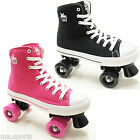 Rookie Canvas Hi-Top Boys Girls Black Pink Lace Up Quad Roller Skates Jr 13 to 6
