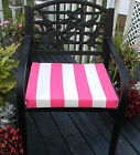 """OUTDOOR CHAIR SEAT CUSHION PAD-PREPPY PINK WHITE STRIPE-CHOOSE SIZE-2"""" THICK"""
