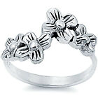925 Sterling Silver Nice 4 Flowers Promise Girl's Romantic Lucky Ring Size 3-11