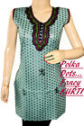 COLLEGE/OFFICE Girl`s Summer`s KURTI -EMBROIDERD NECK POLKA-DOTS.
