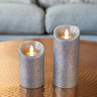Small/Large Mirage Silver Glitter Battery Operated Flickering LED Indoor Candle
