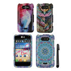 For LG Motion 4G MS770 Regard Snap On PATTERN HARD Case Phone Cover + Pen