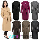 WOMENS ITALIAN WATERFALL BELTED JACKET DRAPED LADIES OVERSIZED LONG COAT NEW