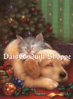 Fabric Art Quilt Block *Christmas Pets*  13-1501 FREE SHIPPING