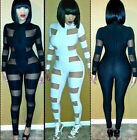 Ladies Sexy Tight Clubwear Jumpsuits Rompers Bodysuit Black White Bandage 2015