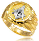 10k Solid Yellow Gold Masonic Men's Ring