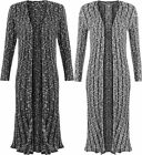 Womens Long Sleeve Open Knitted Draped Fleck Baggy Top Ladies Midi Cardigan 8-14