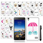 For Huawei SnapTo LTE G620 Pronto H891L Design TPU SILICONE Case Cover + Pen
