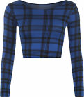 Womens Check Blue Tartan Print Long Sleeve Short Stretch Ladies Crop Top 8-14