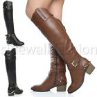 WOMENS LADIES STIRRUP BLOCK MID CUBAN HEEL COWBOY ZIP RIDING KNEE BOOTS SIZE