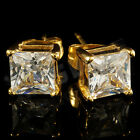18k IP Gold Plated Stainless Steel Silver Iced Out SQUARE Clear CZ Stud Earrings