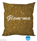 "GLAM-MA GOLD SPARKLY EFFECT DESIGN GRANDMA COTTON FEEL CUSHION 18"" DECOR HOME"