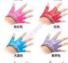 Motorcycle Womes Rivets Studded Punk Fingerless Dancing Jazz Gloves 12 Colors