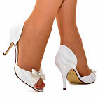 Ladies Womens White Bow Peep Toe Wedding Bridal Shoes Mid Heels Open Sides Size