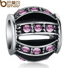 Purple Crystal Hollow Lantern Charms Fit 925 European Bracelet/Neckla​ce Chain