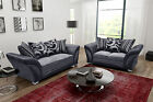 Fabric Black Sofas 3+2+1 seaters and Corners with Swivel Cuddle Chairs (FLUX)