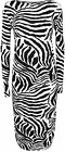 New Womens Animal Zebra Print Long Sleeve Stretch Ladies Bodycon Midi Dress 8-14