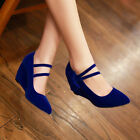 Lady High Wedge Heel Pointy Toe Bowknot mary Janes Faxu Suede Shoes Sweet NEW