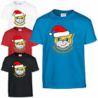 Stampy Christmas Santa Hat T-Shirt - Gamers Inspired Mr Cat Kids Adults Xmas Top