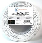 White 22 GA Gauge AWG 4 Conductor Stranded Copper Alarm Wire Security Cable
