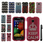 For Motorola Moto E 1st 2014 DIAMOND BLING CRYSTAL HARD Case Phone Cover + Pen