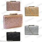 Glitter SILVER BLACK GOLD  CHAMPAGNE Hard Case Box Clutch Handbag #506