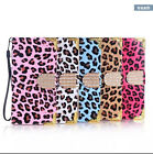 Leopard Bling Diamonds Leather Wallet Flip Cover Case for iPhone 5 5S 6 6S Plus