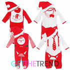 Baby Boys Girls 3 or 4 Piece Xmas Outfit Babies Santa My First Xmas Bib Hat Set