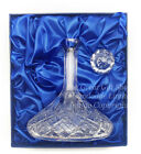 MENS CUT CRYSTAL GLASS SHIPS DECANTER Stunning Gift Satin Box 50%Off FREE PLAQUE
