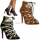 NEW WOMENS LADIES LACE UP HIGH HEELS STILETTO ANKLE STRAPPY CUT OUT SANDALS SIZE