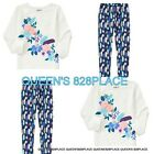 NWT Crazy 8 girls set flower feather Top shirt Leggings size 2 2T Outfit NEW