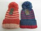 Girls Striped knitted RJM Bobble Hat GL092