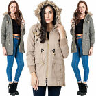 Womens Brave Soul Winter Parka Coat Chunky Fur Trim Hooded Ladies Twill Jacket