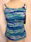 Real Bodies by Island Escapes Hi Neck Tankini Top 8 Blue RP210231  NWT