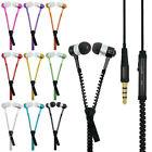 3.5mm Stereo Jack Earbuds Earphone Headset Zipper With Mic For CellPhone MP3 MP4