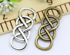 New 6/30/150pcs Antique Silver Double 8 Eight Infinity Charms Connectors 32x12mm