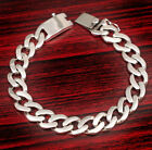 """9.5"""" 57g ROUNDED EDGE CURB LINKS CHAIN MENS BRACELET 925 STERLING SOLID SILVER"""