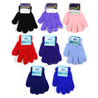 Winter Kids Full Finger Gloves Solid Plain Color Warm Stretchy Glove One Size