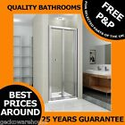760mm Bi Fold Bathroom Shower Door Walk In Glass Cubicle/Enclosure, Chrome Frame
