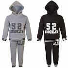 Kids Brooklyn 52 Print 2 Piece Tracksuit Boys Hooded Top Jogging Bottoms 3-14 Y